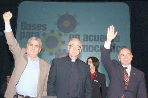 Carlos Ortega (Presidente de la CTV), Pedro Carmona Estanga (Presidente de Fedecamaras) y el Padre Jesuìta Luis Ugalde (Rector de la Universidad Católica Andrés Bello) pocos d�as antes del Golpe de Estado de Abril de 2002