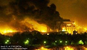 Bombardeo a Bagdad. 20-03-2003