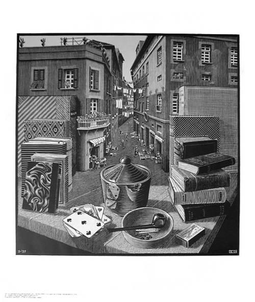 Calle y Naturaleza Muerta. M.C. Escher