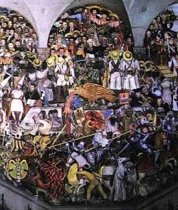 "Detalle del Mural ""Historia de México"" de Diego Rivera"